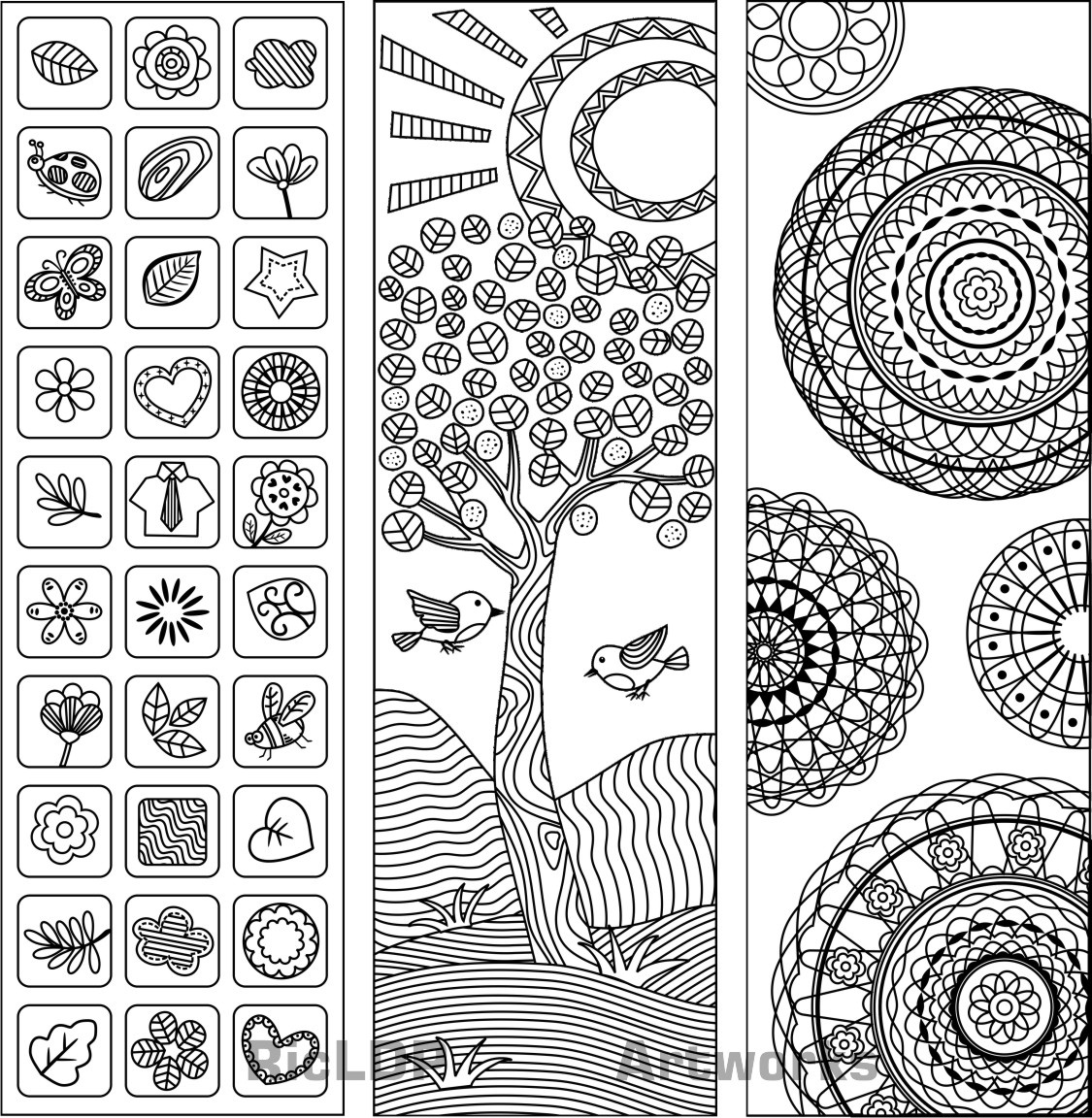 graphic relating to Free Printable Coloring Bookmarks named 3 Coloring Bookmarks - RicLDP Artworks