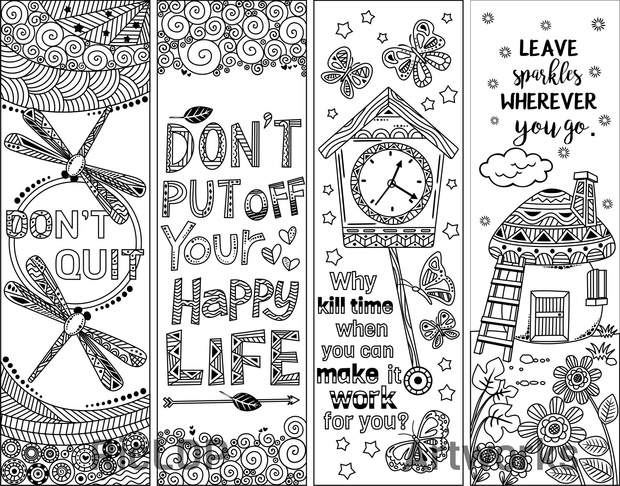 8 Coloring Bookmarks with Quotes