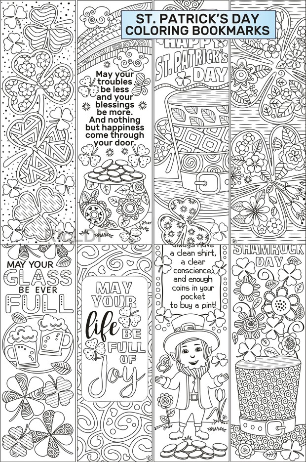 St Patrick\'s Day Coloring Bookmarks