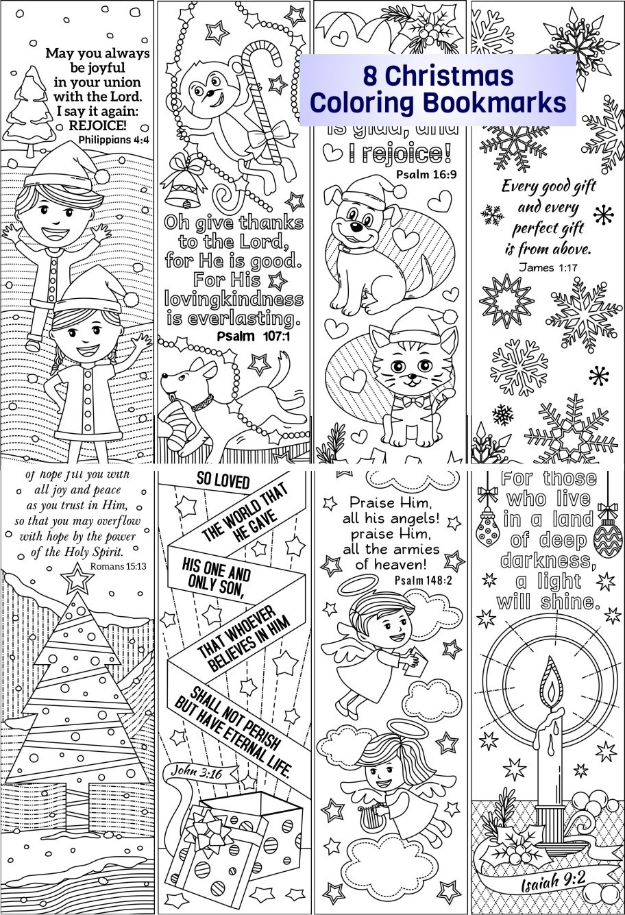 Christmas Coloring Bookmarks (plus colored items)
