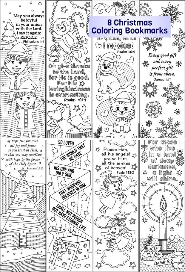 christmas coloring bookmarks plus colored items