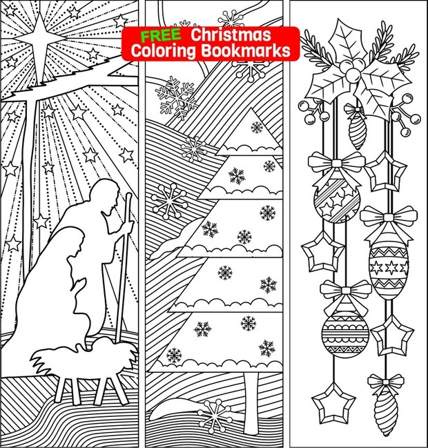 three christmas coloring bookmarks