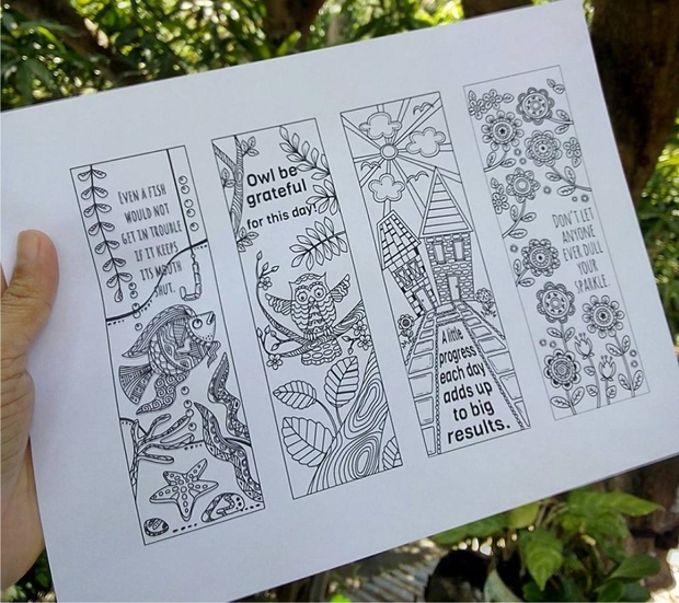 8 Coloring Bookmark Doodles with Quotes