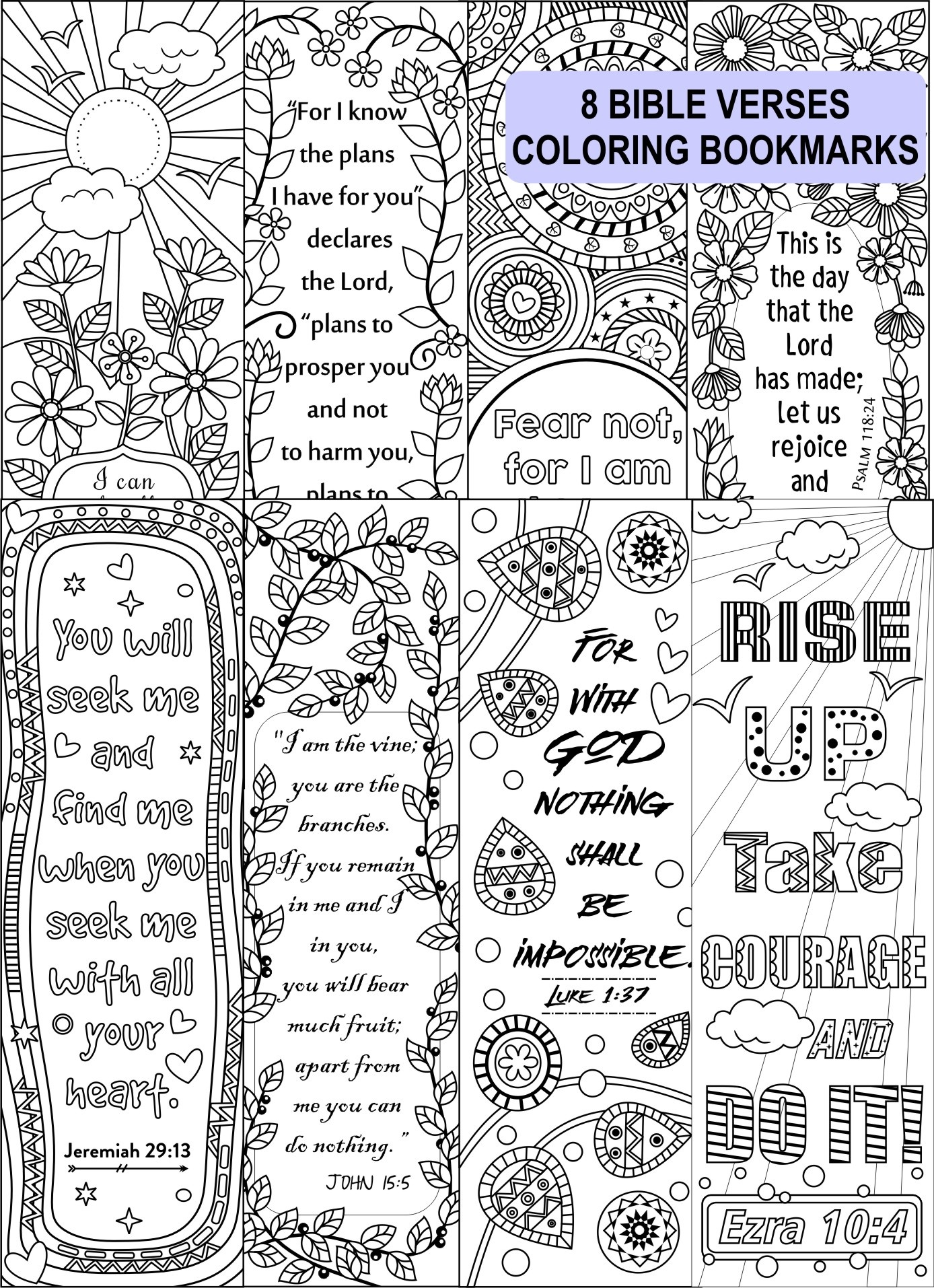graphic about Printable Coloring Bookmarks referred to as 8 Bible Verse Coloring Bookmarks