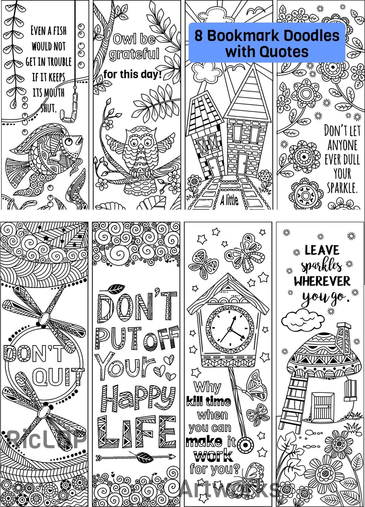 photo regarding Printable Bookmarks for Adults called 8 Coloring Bookmarks with Offers