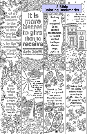 8 Bible Coloring Bookmarks