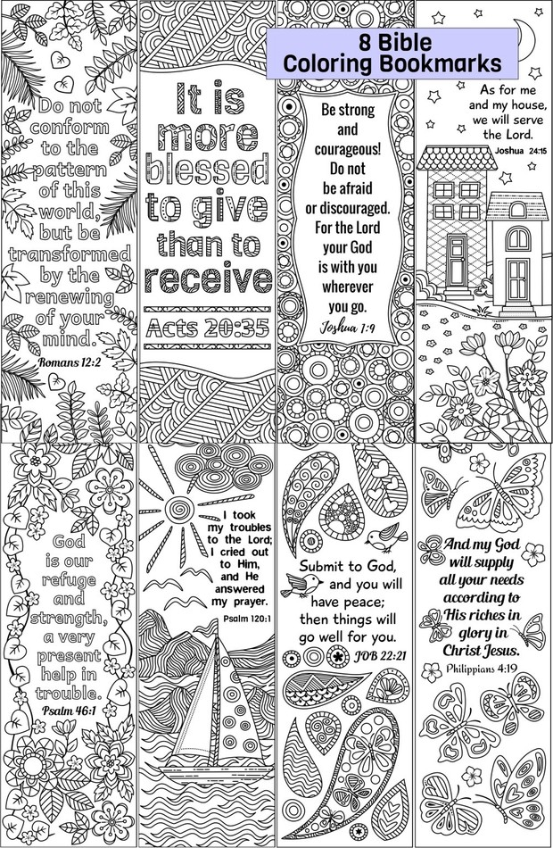 8 Bible Coloring Bookmarks Set 2
