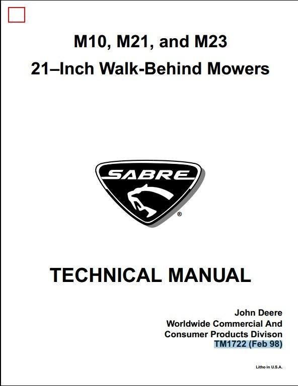 John Deere M10, M21, and M23 21–Inch Walk-Behind Mowers Service Repair Technical Manual