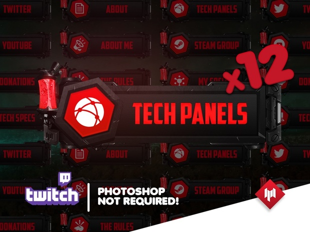 Twitch Panels | Tech Metal (x16) - RED