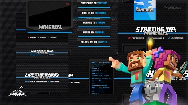 Live Stream Overlay Pack | Mineboy (Minecraft) | Twitch & Youtube