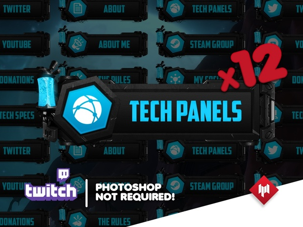 Twitch Panels | Tech Metal (x16)