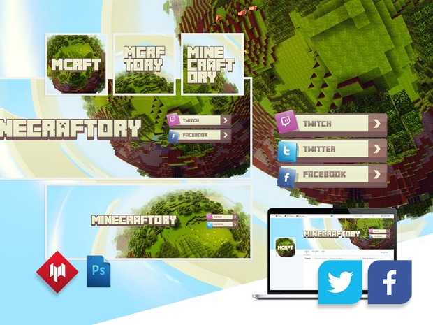 Complete Channel Graphics | Minecraftory (Youtube, Twitter, Facebook)
