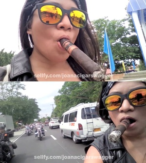 Smoking dangling on a bike ride