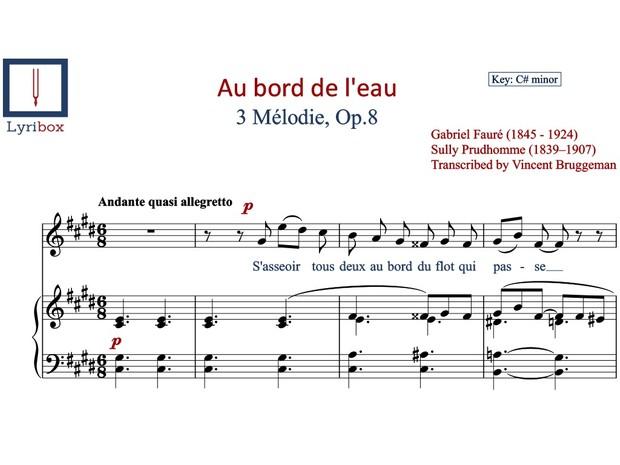 Au bord de l'eau sheet music - Buy / Download sheet music of Au bord de l'eau by Gabriel Fauré