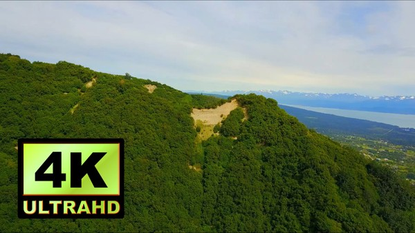 01320_aerial drone footage of beautiful green mountainside in Alaska_4K UltraHD Version