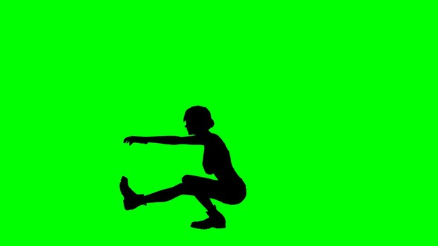 00206_athlete woman silhouette performing pistol squats on green screen