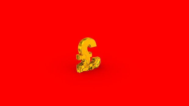 HD video backgrounds – gold UK pound sign falling & breaking – 3D animation