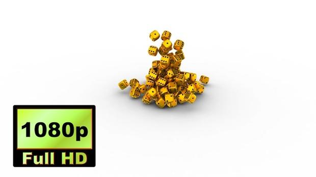 00035_gold casino dice falling 3D animation