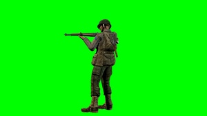 00301_WWII private soldier standing and shooting on green screen seamless loop