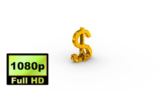 00031_Gold USA dollar sign falling & breaking 3D animation