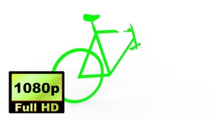 00020_green bicycle shape unfolded with 3D effect