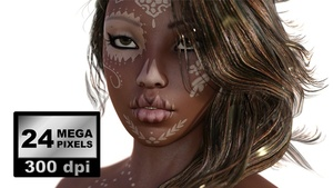 IMAGES_PACK_0004_ beautiful woman face with tattoo close up photorealistic rendering