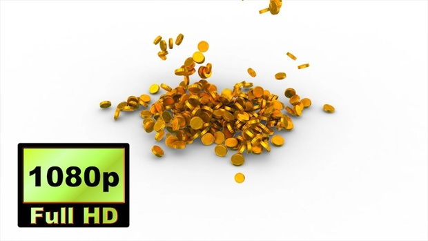 00030_Gold coins falling to white ground 3D animation