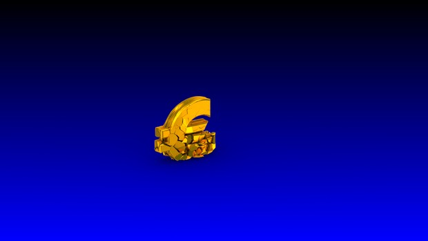 HD video backgrounds – gold euro sign falling & breaking – 3D animation