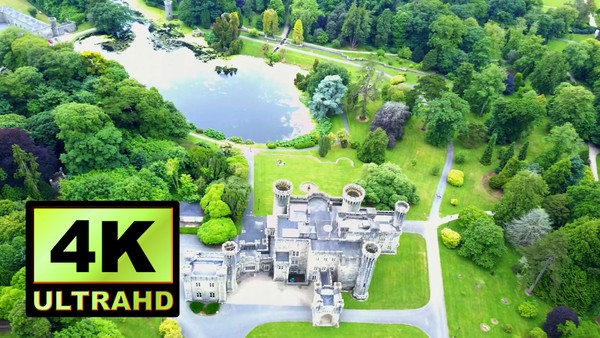 01764_aerial drone footage of beautiful old castle in Ireland_4K UltraHD Version