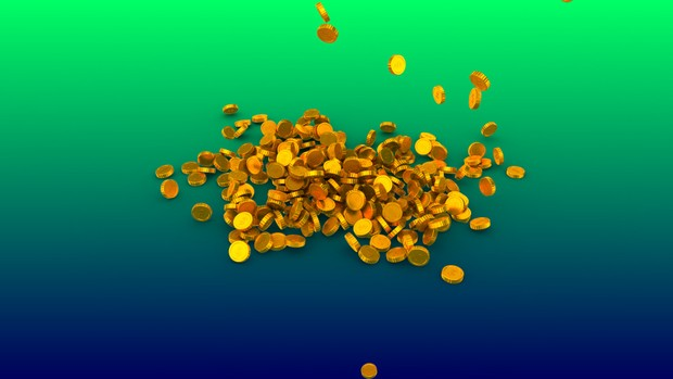 HD video backgrounds - Gold coins with dollar sign falling & breaking - 3D animation.coins