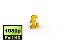 00034_gold UK pound sign falling & breaking 3D animation
