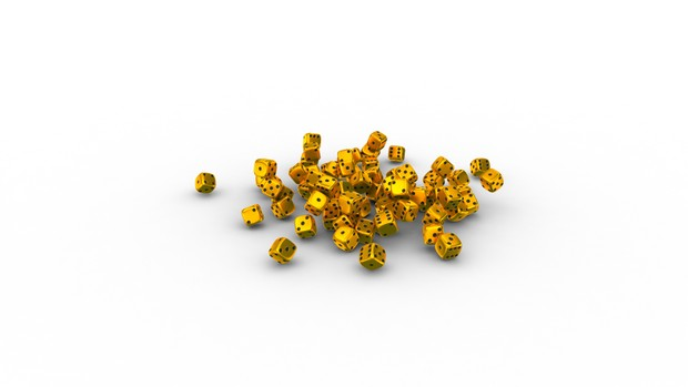 HD video backgrounds – gold casino dices falling – 3D animation