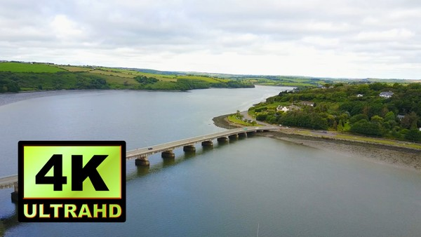 01765_aerial drone footage of river and bridge in Ireland_4K UltraHD Version
