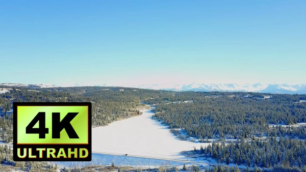 01736_aerial drone footage of a frozen river and snowed pine forest in Alaska_4K UltraHD Version