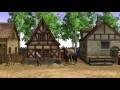 00170_medieval fantasy village with characters seamless loop 3D animation