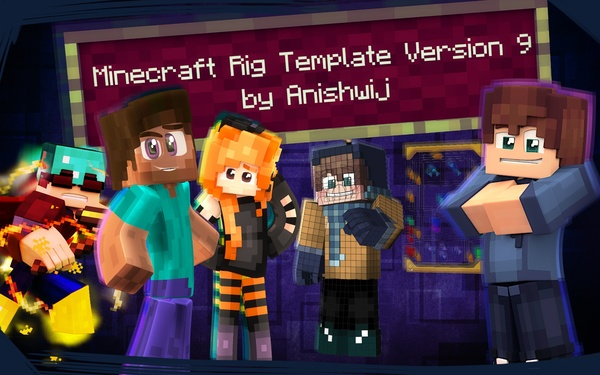 Cinema 4D - Minecraft Rig Template Version 9.11 by Anishwij