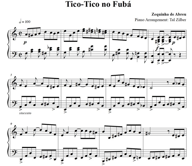 Tico-Tico no Fubá - Piano Arrangement by Tal Zilber