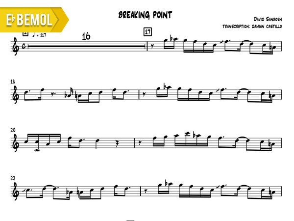 "David Sanborn - ""Breaking Point"" - Eb"