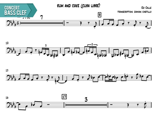 "Ed Calle - ""Rum And Coke (Cuba Libre)"" - Concert Bass Clef"