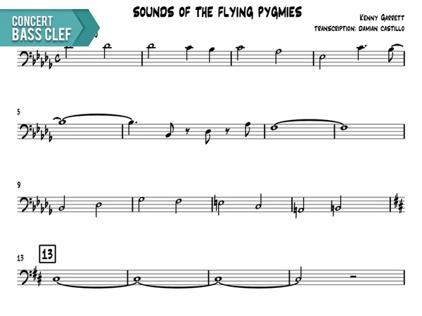 """Kenny Garrett - """"Sounds Of The Flying Pygmies"""" - Concert Bass Clef"""