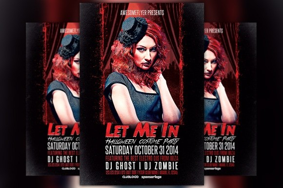 Let Me In Halloween Party Flyer Template