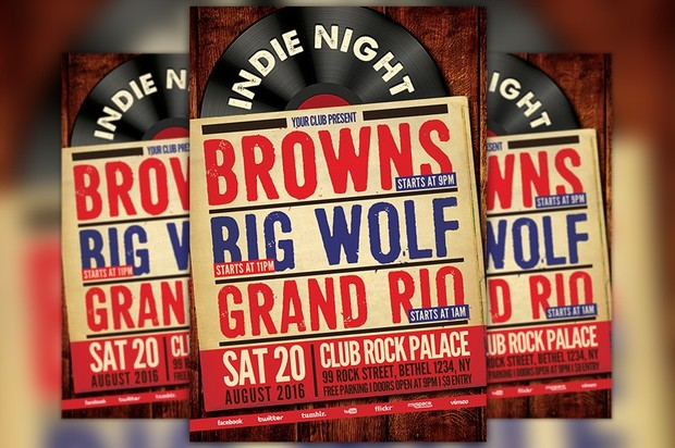 Indie Rock Party Flyer Template