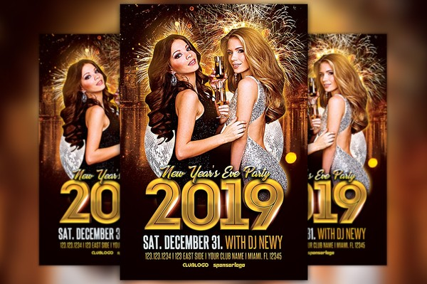New Year's Eve Party 2019 Flyer Template