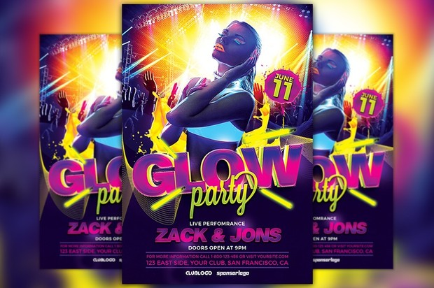 UV Glow Party Flyer Template