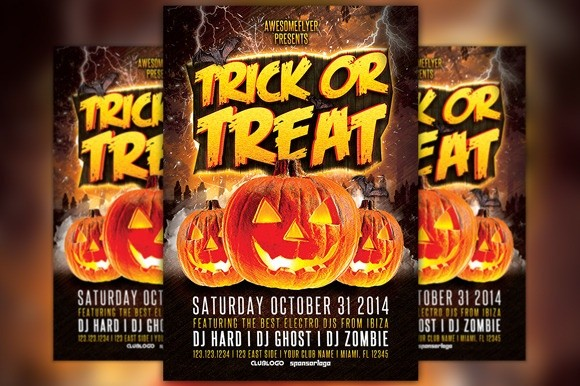 trick or treat halloween party flyer template