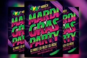 Mardi Gras Party Typo Flyer Template