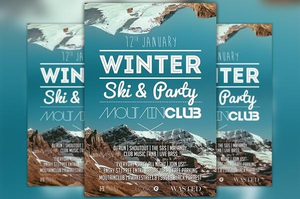 Winter Ski Party Flyer Template