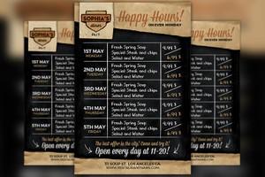 Restaurant Happy Hour Food Menu Flyer Template