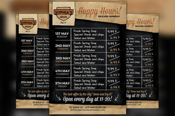 Restaurant Happy Hour Food Menu Flyer Template
