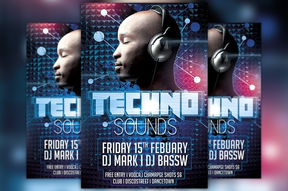 Techno Club Party Flyer Template
